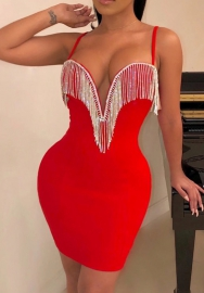 Rhinestone tassel V-neck sexy club dress with suspender