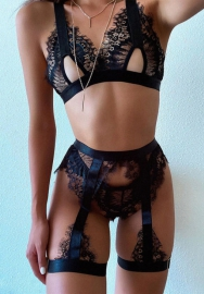 Lace eyelashes stitch sexy perspective sexy lingerie 3pcs set