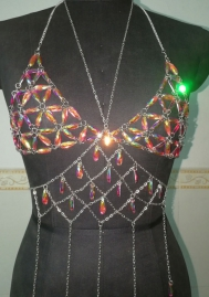 Crystal jewel bra chain