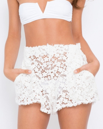 Fashion Beach White Flare Lace Mid Solid Shorts