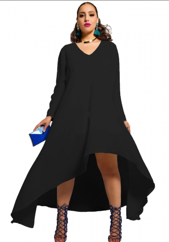 Fashion Loose Full Black V-Neck Chiffon Street Dresses