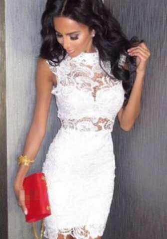 White O-Neck Sleeveless Sheath short skirts Lace Dresses