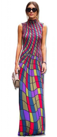 As Show Casual O-Neck Sleeveless Straight Ankle-Length Print Dresses
