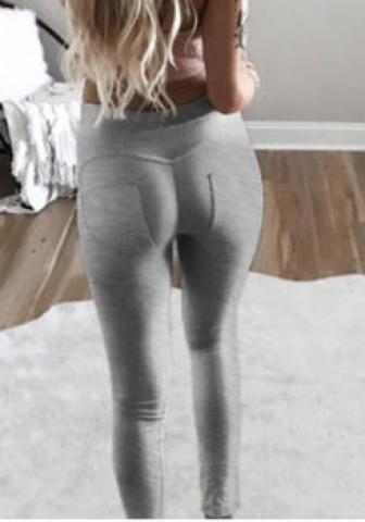 SEXY HIP MULTI - COLOR LEGGINGS LEISURE FEET TROUSERS GREY