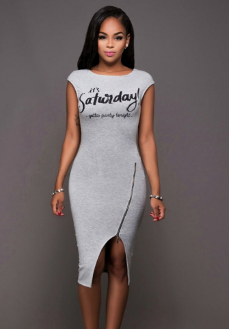 GREY SATURDAY BODYCON DRESS