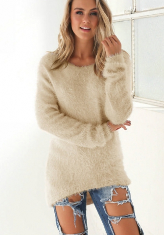 Women Fashion Casual Long Sleeve V-neck Solid Tops Blouse Thin Sweater