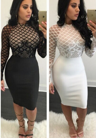 Women Keyhole Mesh Long Sleeve Bodycon Party Club Midi Dress Black
