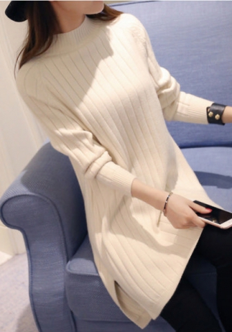 Women's High-Neck Long Sleeve Knit Thick Cable Pullover Dehair Angora Sweater Top
