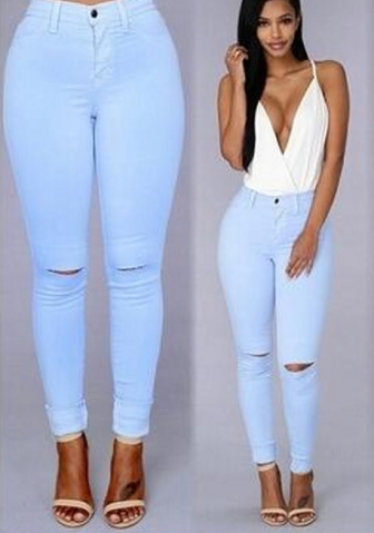 Women's Ripped Knee Denim Leggings
