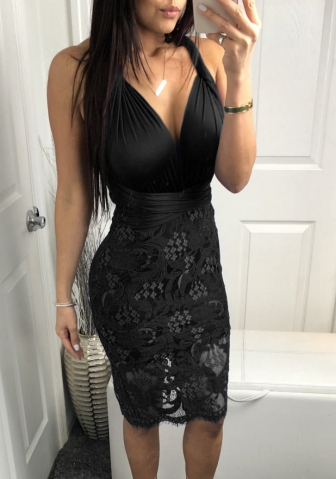 Women Boho Bodycon Sexy Lace Floral Halter Strap Deep V Neck Evening Club Mini Dress