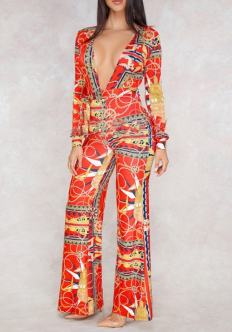 Women's Long Sleeve V Neck Wrap Digital Print Wide Leg Long Pants Jumpsuits Rompers
