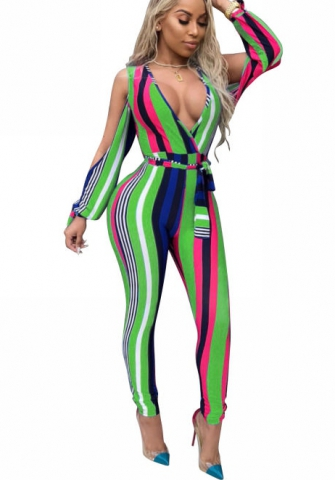 Sexy One Piece Colorful Rainbow Stripe Outfits for Women Side Split Sleeves Jumpsuits Romper