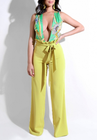 Women's Sexy Deep V Neck Halter Wide Leg Long Pants Jumpsuit Rompers