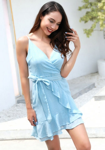 Women Chiffon Spaghetti Strap Dot Bodycon Mini Dress