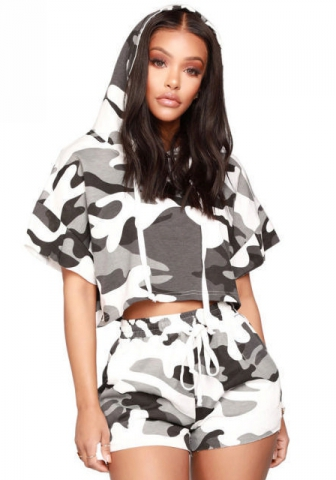 Women Camo Floral Print Hoodie Crop Top Short Pants Jumpsuits 2 Piece Outfits