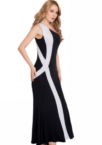 One shoulder Sexy back black white maxi dress