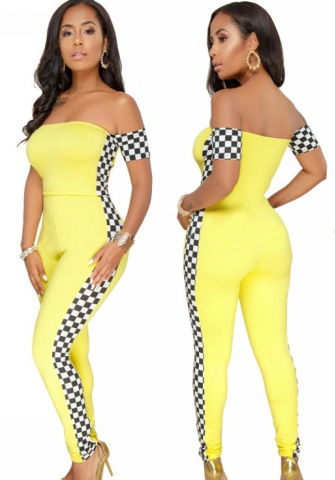 Women Bodycon Racing Suit Shoulder Off Sexy Plaid Jumpsuits New