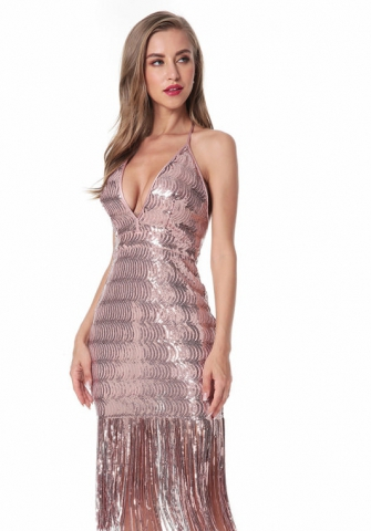 Women's Sequined fringed perspective dress