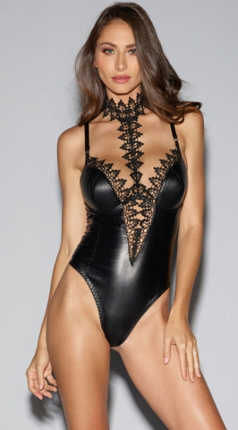 Deep V black lacquer imitation leather PU sexy costume lingere stagewear