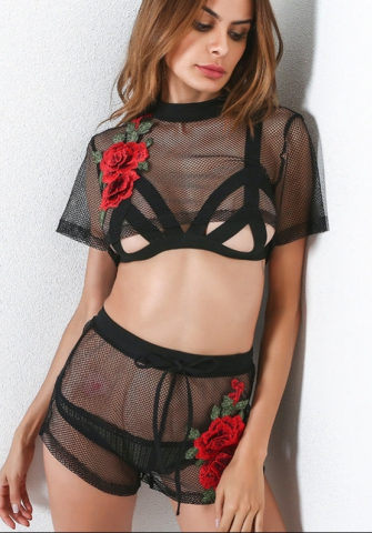 Sexy fishnet embroidery flower ladies suit